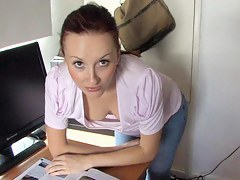 Brunette vixen reading a paper in a down blouse video