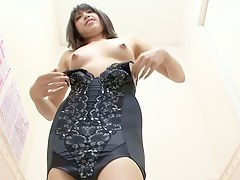 The candid girl in lingerie changing room shows bushy beaver
