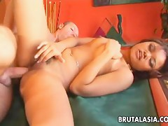 Asian bondage babe Annie Cruz fucked in on all sides of holes