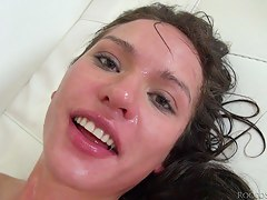 Night-time does blowjob and her globes is screwed ballpark