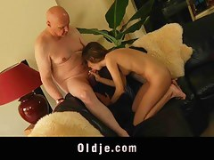 Old husband catches his young spliced masturbating