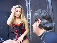 Team a few scenes: Dominatrix spanks, slaps, spits on sub