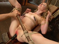 Two Gorgeous Blonde Rope Sluts Made to Orgasm in Guestimated Bondage