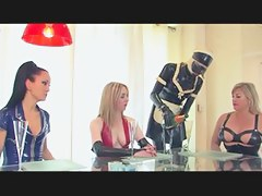 Dominas in latex torture their hard labour