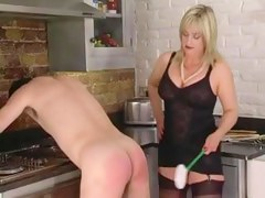 Femdom Corselette and Nylons Female-Dominant Spanks thither the Kitchen