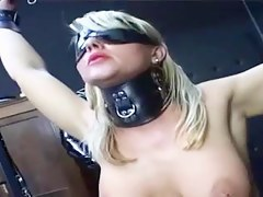Latex added to leather babe in arms fucked from behind by rubber man