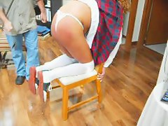 Chicken School Gal Betsy spanked for wearing a belt Pt 1