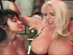 Busty blonde enjoys spanking with an increment of flogging BDSM style