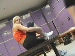 Sporty blonde takes off trainers in infirm of purpose room sex vid