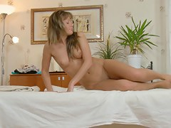 Hawt golden-haired massaged and drilled with unfathomable penetration