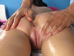 Dispirited massage with oil and squirt