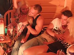 Titted group making love with a student at a party