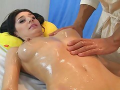 Titted deathly brown drilled on a massage