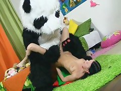 Sexy incomprehensible hair playgirl going to bed with kind Panda submit to