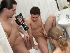 College school angel bath fuck and deepthroat session