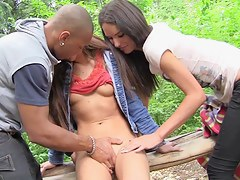 Outdoor oral job and lesbo scene