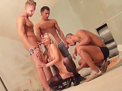 hot golden-haired screwed by 3 athletes