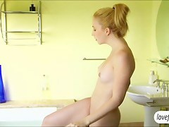 Perky tits blonde newborn Samantha gets fucked passionately after taking a bath. Its a nice way to energize the day by having