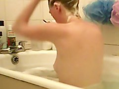 Young complain voyeured washing in the soaped bath