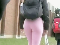 Fitty in tight pink pants walking from the gym street candid ass