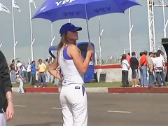 Race track hotties and their perfect asses on byway candid cam