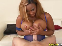 Busty ebony whore Tori Taylor is having some fun pleasing her pallid tramp
