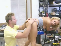 Slim blonde gets licked and banged in office