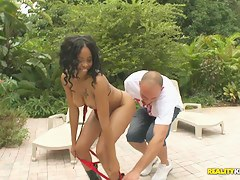 Cute ebony grumble is playing wide huge cock be useful to her white boyfriend