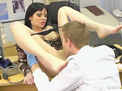 Hot Dark haired babe Anastasia Finances fucks doctor