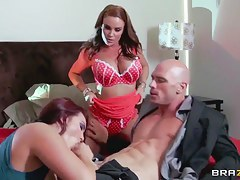 Diamond Foxxx, Johnny Sins & Mackenzee Pierce have sex