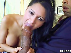 Young girl Alison Star makes blowjob to her friend with chubby cock