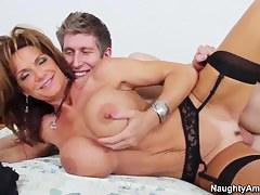 Large boob MILF Deauxma in black stockings fucking