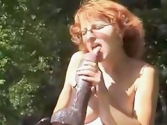 Mature plays with huge marital-device outdoors