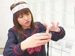 Japanese cutie gets slammed wide of two shafts