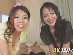 Japanese Cuties Giving A Handjob POV