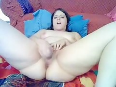 Great dildo fuck on the sofa